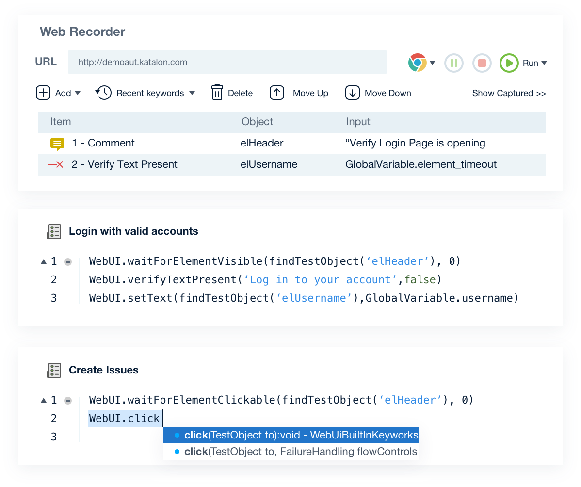 Records actions and generates scripts automatically using built-in keywords