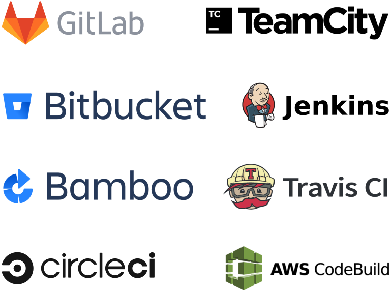 Katalon integrate CI/CD tools such as GitLab, TeamCity, Bitbucket, Jenkins, Bamboo, Travis CI, circleci, AWS CodeBuild