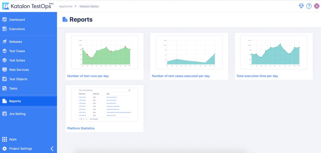 Katalon TestOps (beta) - Dashboard with visualized execution history