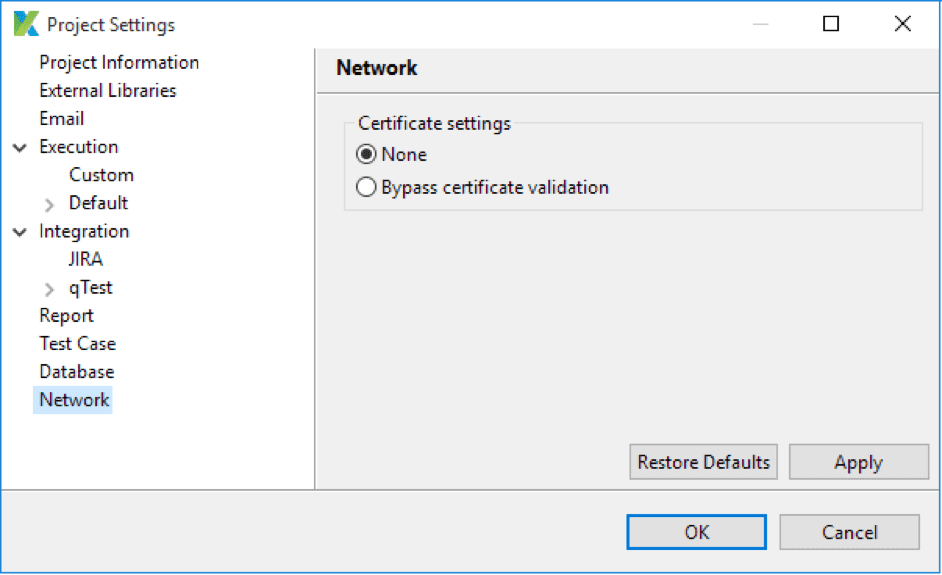Katalon Certificate Settings