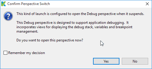 the Debug perspective.