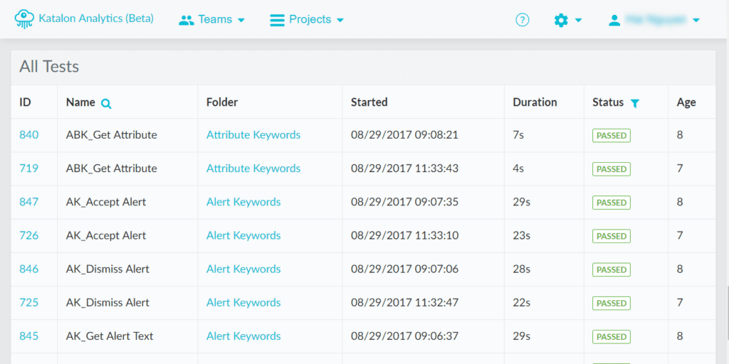 view all tests in one table Katalon Analytics