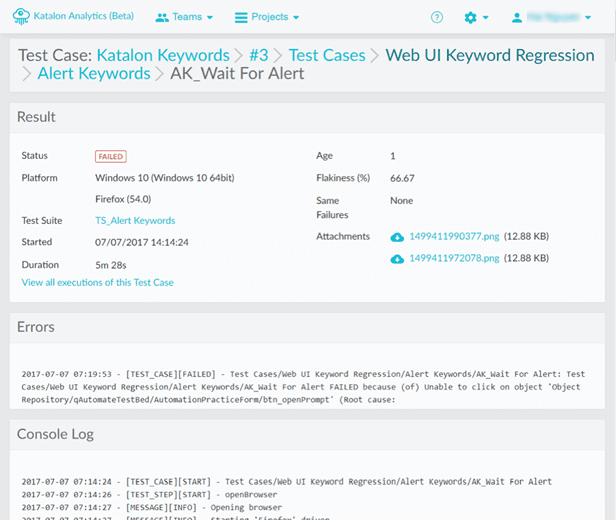 detailed execution information & logs Katalon Analytics