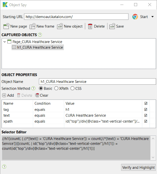 Locate captured Xpath selector