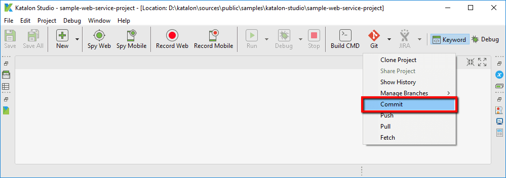 Commit option from Git menu