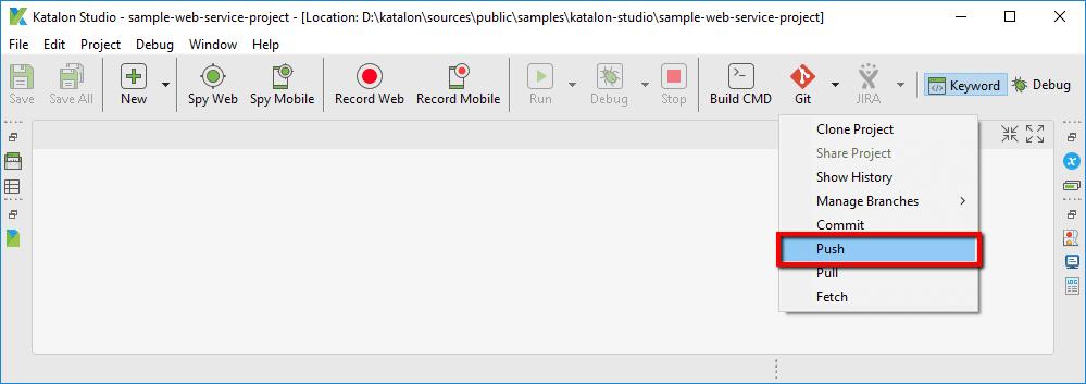 Push option from Git menu