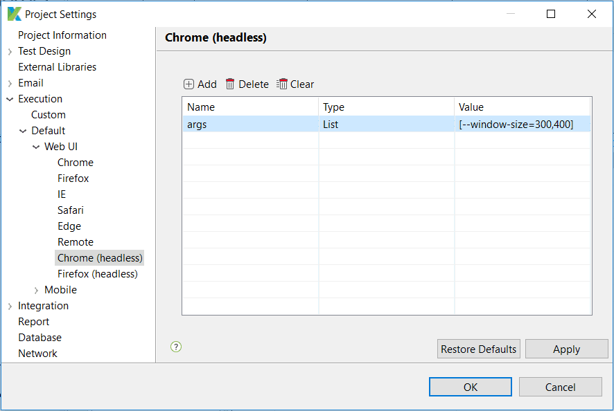 Configuring headless browsers