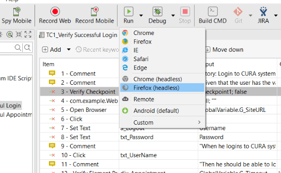 Executing automation test