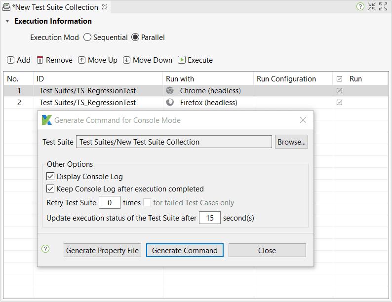Execute using console mode execution