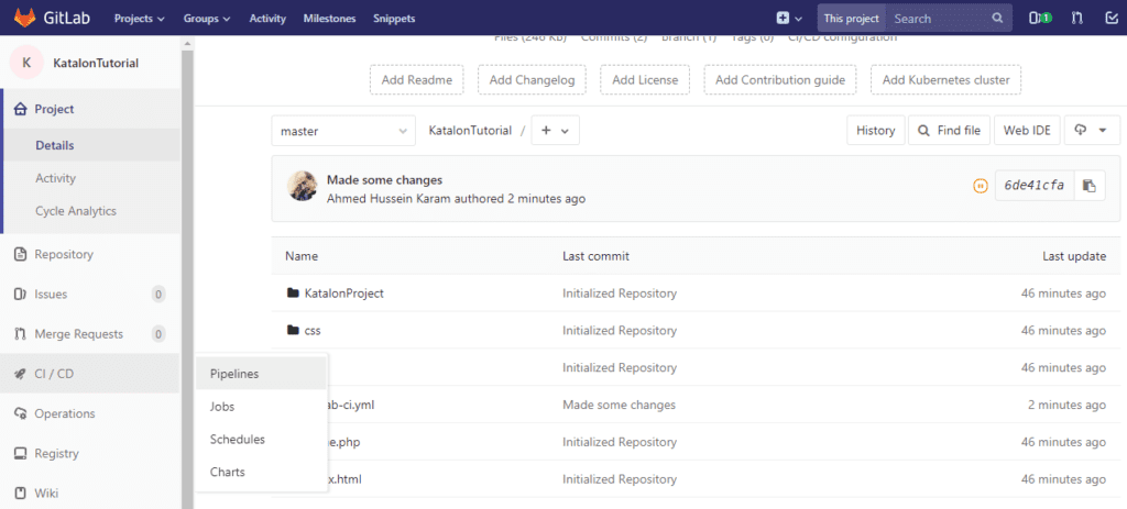 gitlab changes and test