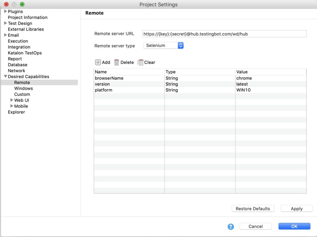 screenshot katalon testingbot configuration