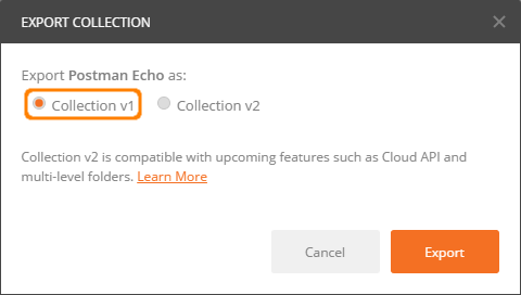 Export Postman Collection_Select Collection v1