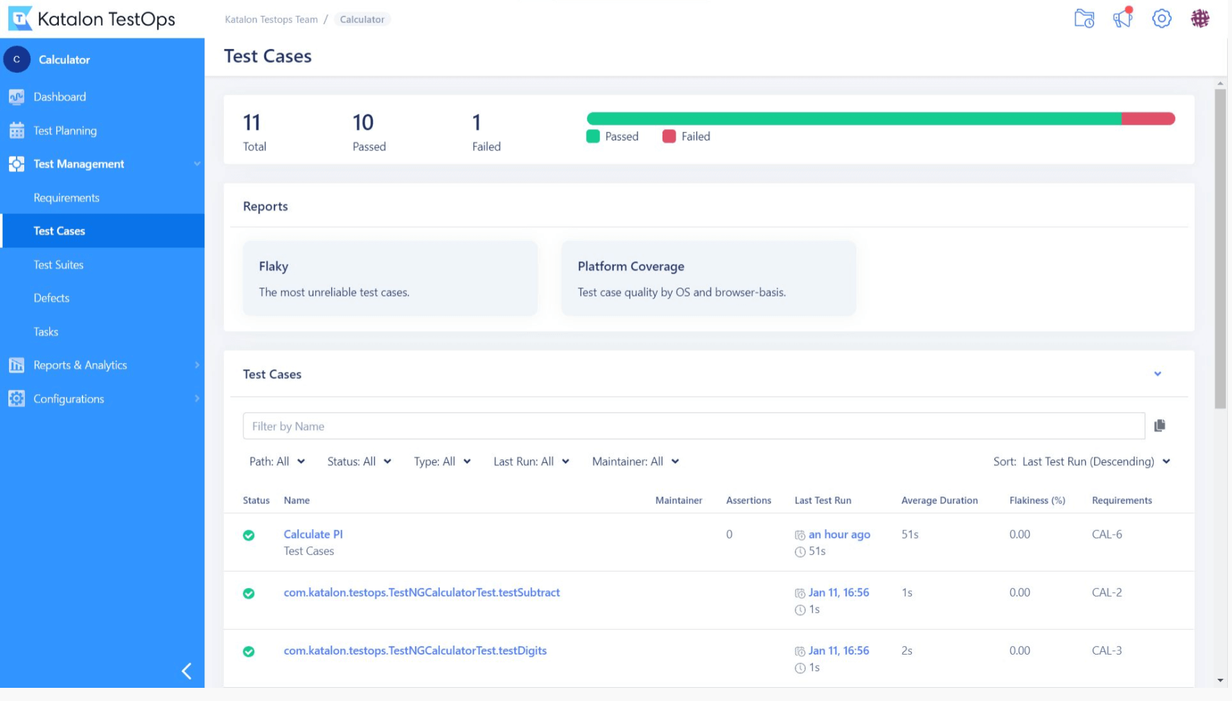 Centralized test dashboard with managers and related documents