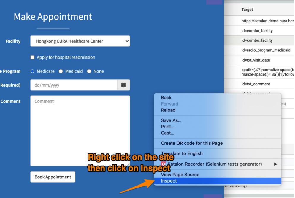Inspect web element